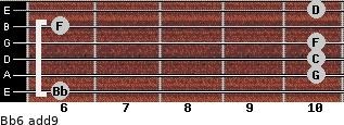 Bb6(add9) for guitar on frets 6, 10, 10, 10, 6, 10