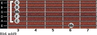 Bb6(add9) for guitar on frets 6, 3, 3, 3, 3, 3