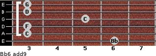 Bb6(add9) for guitar on frets 6, 3, 3, 5, 3, 3