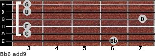 Bb6(add9) for guitar on frets 6, 3, 3, 7, 3, 3