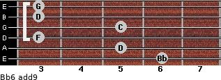 Bb6(add9) for guitar on frets 6, 5, 3, 5, 3, 3