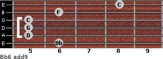 Bb6(add9) for guitar on frets 6, 5, 5, 5, 6, 8