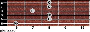 Bb6(add9) for guitar on frets 6, 8, 8, 7, 8, 8
