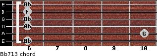 Bb-7/13 for guitar on frets 6, 10, 6, 6, 6, 6