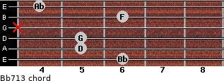 Bb7/13 for guitar on frets 6, 5, 5, x, 6, 4