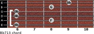 Bb-7/13 for guitar on frets 6, 8, 6, 6, 8, 9