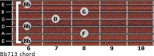 Bb7/13 for guitar on frets 6, 8, 6, 7, 8, 6