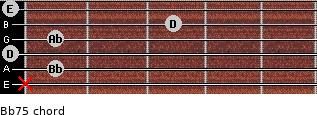 Bb7(-5) for guitar on frets x, 1, 0, 1, 3, 0