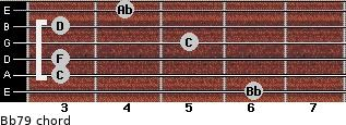 Bb7/9 for guitar on frets 6, 3, 3, 5, 3, 4