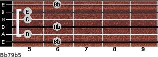 Bb7/9(b5) for guitar on frets 6, 5, 6, 5, 5, 6