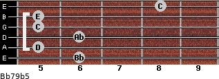 Bb7/9(b5) for guitar on frets 6, 5, 6, 5, 5, 8