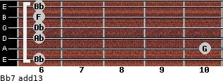 Bb-7(add13) for guitar on frets 6, 10, 6, 6, 6, 6