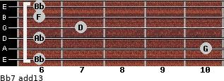 Bb7(add13) for guitar on frets 6, 10, 6, 7, 6, 6