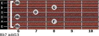 Bb7(add13) for guitar on frets 6, 8, 6, 7, 8, 6
