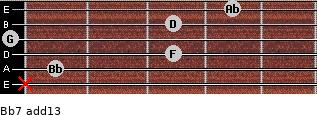 Bb7(add13) for guitar on frets x, 1, 3, 0, 3, 4