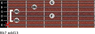 Bb-7(add13) for guitar on frets x, 1, 3, 1, 2, 3