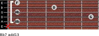 Bb7(add13) for guitar on frets x, 1, 5, 1, 3, 1