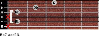 Bb-7(add13) for guitar on frets x, 1, x, 1, 2, 3