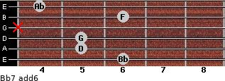 Bb7(add6) for guitar on frets 6, 5, 5, x, 6, 4