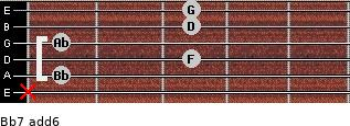 Bb7(add6) for guitar on frets x, 1, 3, 1, 3, 3