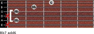 Bb-7(add6) for guitar on frets x, 1, x, 1, 2, 3