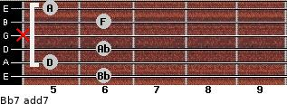 Bb7 add(7) guitar chord
