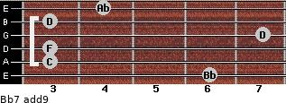 Bb7(add9) for guitar on frets 6, 3, 3, 7, 3, 4