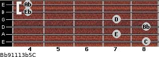 Bb9/11/13b5/C for guitar on frets 8, 7, 8, 7, 4, 4