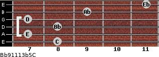 Bb9/11/13b5/C for guitar on frets 8, 7, 8, 7, 9, 11