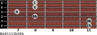 Bb9/11/13b5/Eb for guitar on frets 11, 11, 8, 7, 8, 8