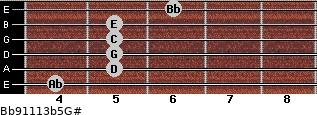 Bb9/11/13b5/G# for guitar on frets 4, 5, 5, 5, 5, 6