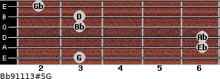 Bb9/11/13#5/G for guitar on frets 3, 6, 6, 3, 3, 2