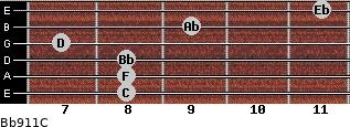Bb9/11/C for guitar on frets 8, 8, 8, 7, 9, 11