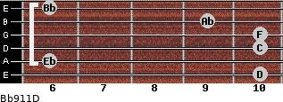 Bb9/11/D for guitar on frets 10, 6, 10, 10, 9, 6