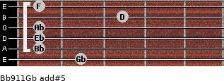 Bb9/11/Gb add(#5) guitar chord