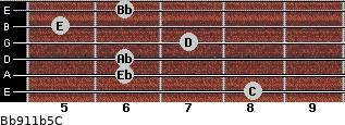 Bb9/11b5/C for guitar on frets 8, 6, 6, 7, 5, 6