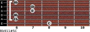 Bb9/11#5/C for guitar on frets 8, 6, 6, 7, 7, 6