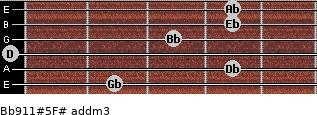 Bb9/11#5/F# add(m3) guitar chord