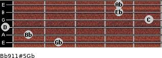 Bb9/11#5/Gb for guitar on frets 2, 1, 0, 5, 4, 4
