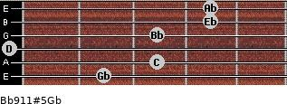 Bb9/11#5/Gb for guitar on frets 2, 3, 0, 3, 4, 4
