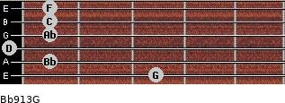 Bb9/13/G for guitar on frets 3, 1, 0, 1, 1, 1