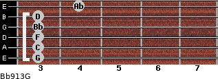 Bb9/13/G for guitar on frets 3, 3, 3, 3, 3, 4