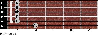 Bb9/13/G# for guitar on frets 4, 3, 3, 3, 3, 3