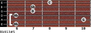 Bb9/13#5 for guitar on frets 6, 10, 6, 7, 7, 8