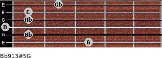 Bb9/13#5/G for guitar on frets 3, 1, 0, 1, 1, 2