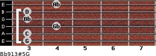 Bb9/13#5/G for guitar on frets 3, 3, 4, 3, 3, 4