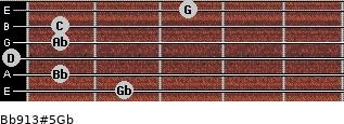 Bb9/13#5/Gb for guitar on frets 2, 1, 0, 1, 1, 3