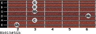 Bb9/13#5/Gb for guitar on frets 2, 3, 6, 3, 3, 3