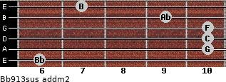 Bb9/13sus add(m2) guitar chord