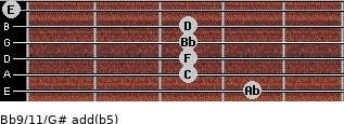Bb9/11/G# add(b5) guitar chord